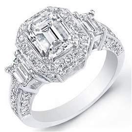 Natural 3.47 CTW 3-Stone Emerald Cut Halo Diamond Ring