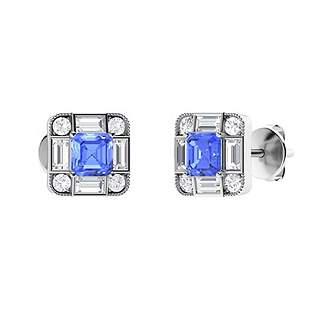0.9 CTW Ceylon Sapphire Halo Earrings 14K White Gold