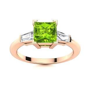 Natural 1.57 CTW Peridot & Diamond Engagement Ring 18K
