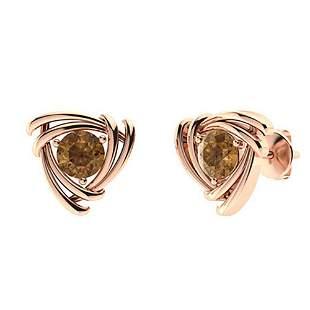2.56 CTW Brown Diamond Studs Earrings 14K Rose Gold