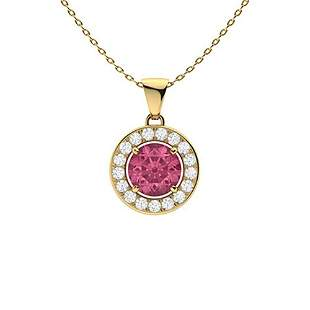 0.56 ctw Tourmaline & Diamond Necklace 14K Yellow Gold