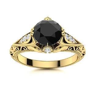 Natural 1.53 CTW Onyx & Diamond Engagement Ring 14K
