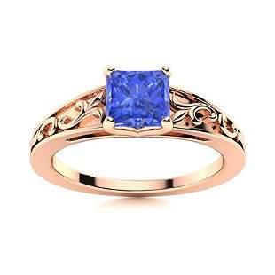 Natural 0.87 CTW Ceylon Sapphire Solitaire Ring 18K