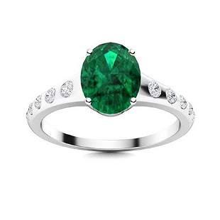 Natural 3.22 CTW Emerald & Diamond Engagement Ring 14K