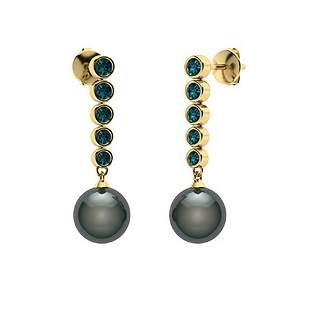 1.77 CTW Blue Diamond & Black Pearl Drops Earrings 14K