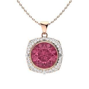 2.52 ctw Pink Tourmaline Necklace 14K Rose Gold