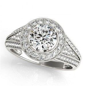 Natural 2.17 ctw Diamond Halo Ring 14k White Gold