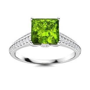 Natural 1.03 CTW Peridot & Diamond Engagement Ring 14K
