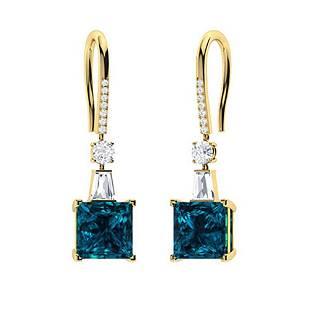 3.166 CTW London Blue Topaz Drops Earrings 18K Yellow
