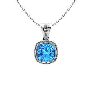 0.68 ctw Sky blue Topaz Necklace 18K White Gold