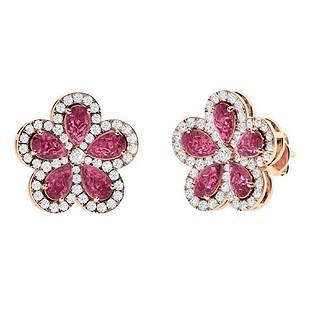 4.23 CTW Pink Tourmaline Halo Earrings 18K Rose Gold