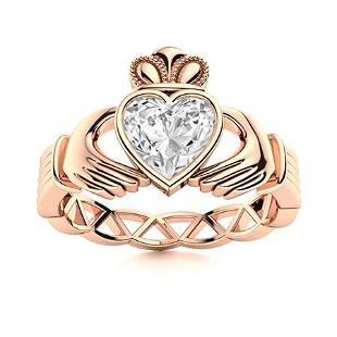 Natural 0.72 CTW Diamond Solitaire Ring 18K Rose Gold