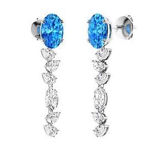 2.88 CTW Blue Topaz Drops Earrings 14K White Gold