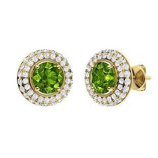 2.56 CTW Peridot & Diamond Halo Earrings 18K Yellow