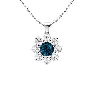 1.92 ctw Topaz & Diamond Necklace 14K White Gold