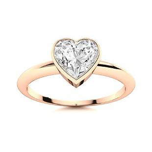 Natural 0.76 CTW Diamond Solitaire Ring 14K Rose Gold