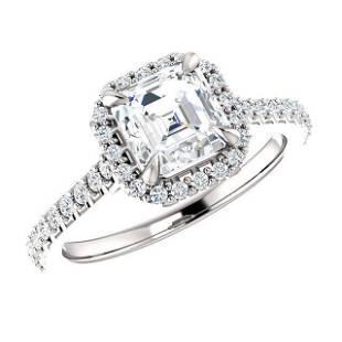 Natural 1.67 CTW Halo Asscher Cut Diamond Engagement