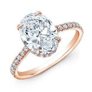 Natural 2.12 CTW Hidden-Halo Oval Cut Diamond