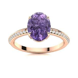Natural 2.36 CTW Iolite & Diamond Engagement Ring 14K
