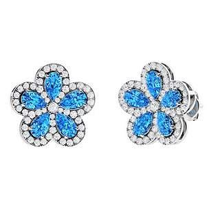 5.63 CTW Blue Topaz Halo Earrings 14K White Gold