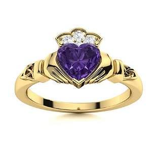 Natural 0.59 CTW Amethyst & Diamond Engagement Ring 14K