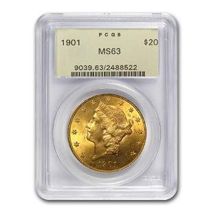 1901 $20 Liberty Gold Double Eagle MS-63 PCGS