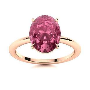 Natural 5.21 CTW Tourmaline Solitaire Ring 14K Rose