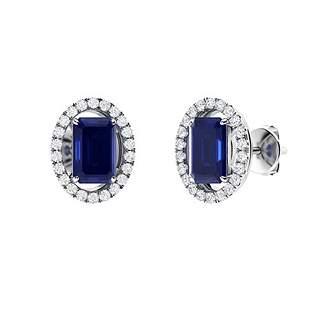 2.57 CTW Sapphire & Diamond Halo Earrings 14K White
