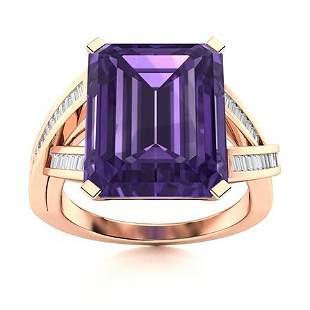 Natural 5.40 CTW Amethyst & Diamond Engagement Ring 18K