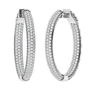 4.66 CTW Diamond Hoops Earrings 18K White Gold