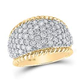 Diamond Pave Rope Band Ring 2 Cttw 10kt Yellow Gold