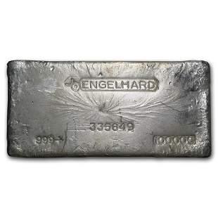 100 oz Silver Bar - Engelhard (Bull Logo)