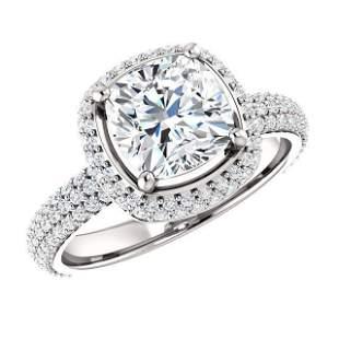 Natural 2.77 CTW Cushion Cut Diamond Halo Engagement