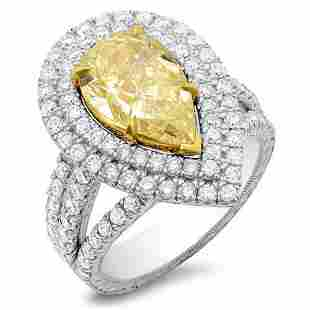 Natural 3.42 CTW Canary Yellow Pear Shape Halo Diamond