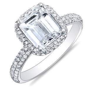 Natural 2.52 CTW Emerald Cut Halo Diamond Engagement