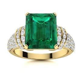 Natural 3.61 CTW Emerald & Diamond Engagement Ring 14K