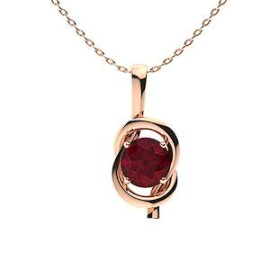 0.82 ctw Ruby Necklace 18K Rose Gold