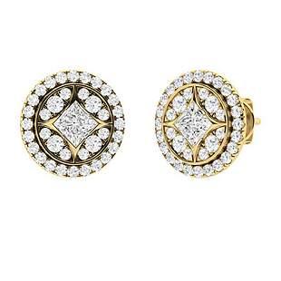 0.68 CTW Diamond Halo Earrings 18K Yellow Gold