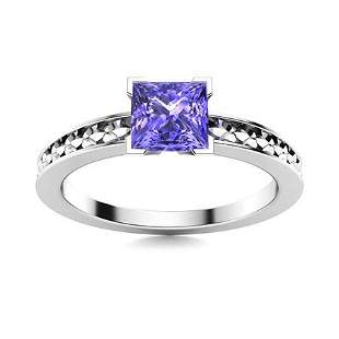 Natural 0.62 CTW Tanzanite Solitaire Ring 18K White