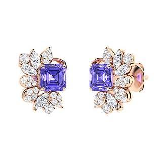 2.74 CTW Tanzanite Drops Earrings 18K Rose Gold