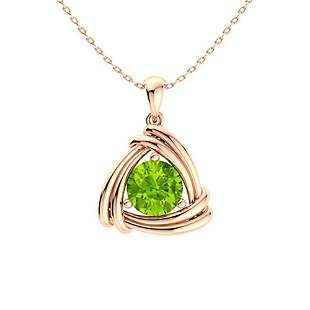 0.42 ctw Peridot Necklace 18K Rose Gold