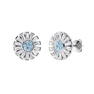 3.56 CTW Aquamarine & Diamond Halo Earrings 14K White