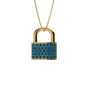 0.39 ctw London blue Topaz Necklace 14K Yellow Gold