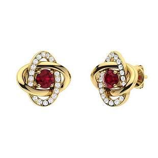 0.92 CTW Ruby & Diamond Halo Earrings 18K Yellow Gold