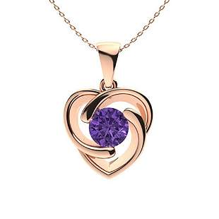 1.42 ctw Amethyst Necklace 18K Rose Gold