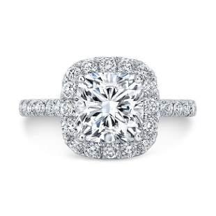 Natural 2.22 CTW Cushion Cut Halo Diamond Engagement