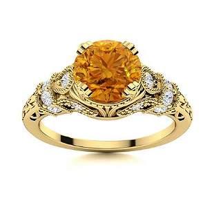 Natural 1.40 CTW Citrine & Diamond Engagement Ring 18K