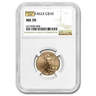 1/4 oz American Gold Eagle MS-70 NGC (Random Year)