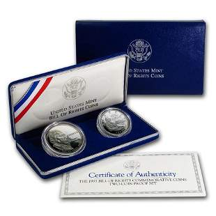 1993 2-Coin Bill of Rights Proof Set (w/Box & COA)