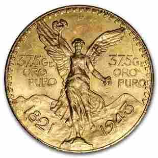1943 Mexico Gold 50 Pesos BU